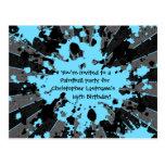 Funky blue paint splatter paintball birthday postcards
