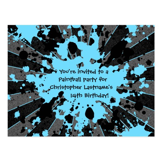 Funky blue paint splatter paintball birthday postcard