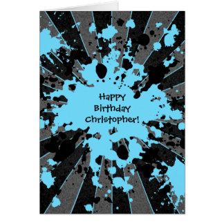 Funky blue paint splatter paintball Happy Birthday Greeting Card
