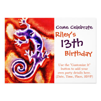 Funky Blue Purple Orange Lizard Gecko Southwestern Cards