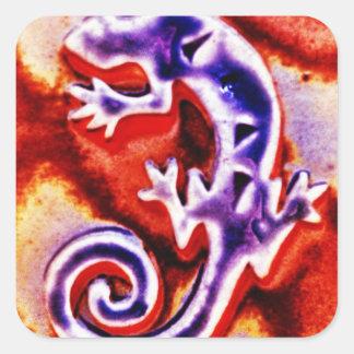 Funky Blue Purple Orange Lizard Gecko Southwestern Square Sticker