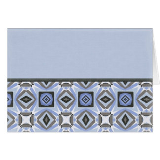 Funky Blue Quilt Border Greeting Card