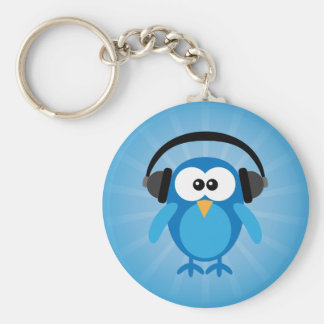Funky Blue Retro Owl With Headphones Key Ring
