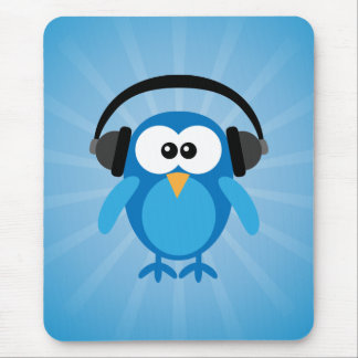 Funky Blue Retro Owl With Headphones Mouse Mat