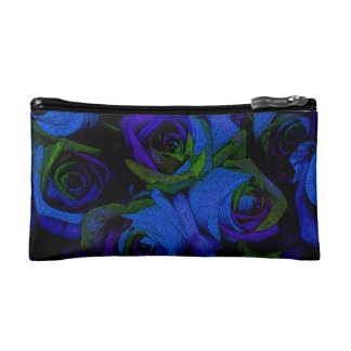 Funky Blue Roses Cosmetic Bag