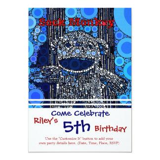 Funky Blue Sock Monkey Circles Bubbles Pop Art 13 Cm X 18 Cm Invitation Card