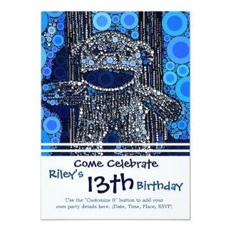 "Funky Blue Sock Monkey Circles Bubbles Pop Art 5"" X 7"" Invitation Card"