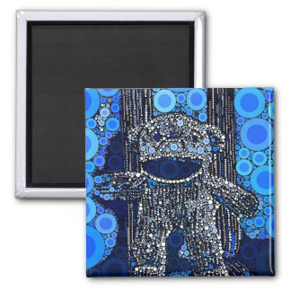 Funky Blue Sock Monkey Circles Bubbles Pop Art Square Magnet