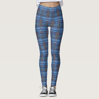 Funky Blue Tropical Patterns Leggings