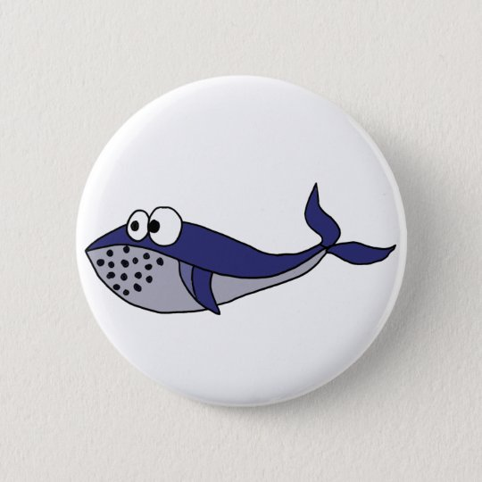 Funky Blue Whale Cartoon Design 6 Cm Round Badge