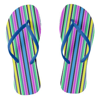 Funky Blue Yellow and Pink Striped Flip Flops