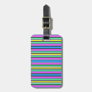 Funky Blue Yellow and Pink Striped Luggage Strap Luggage Tag