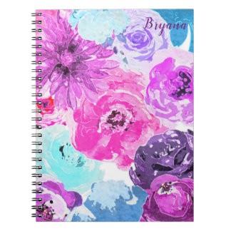 Funky Bold Floral Flowers Pink Purple Chic Notebook