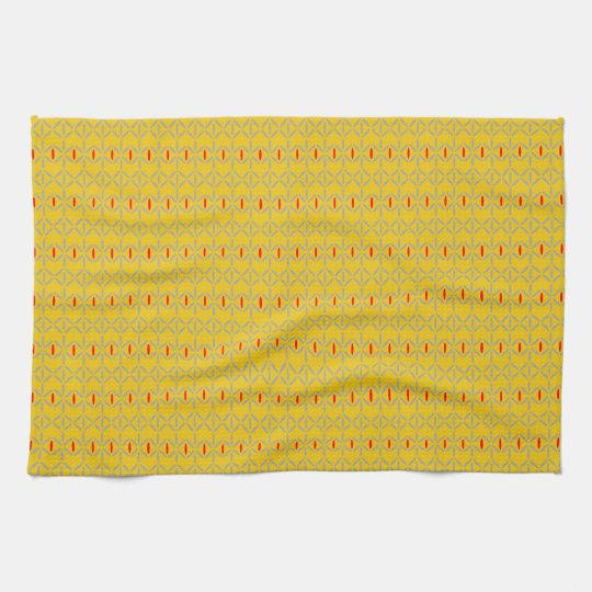 funky bold on mustard kitchen towel tea towel