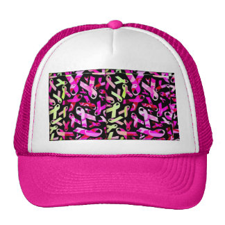 Funky Breast Cancer Ribbons Hats