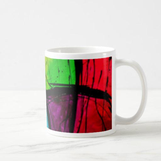 Funky bright abstract art painting basic white mug zazzle - Funky espresso cups ...