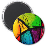 Funky Bright Abstract Art Painting 6 Cm Round Magnet