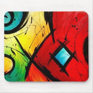 Funky Bright Abstract Art Painting Mouse Pads