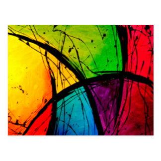 Funky Bright Abstract Art Painting Postcard