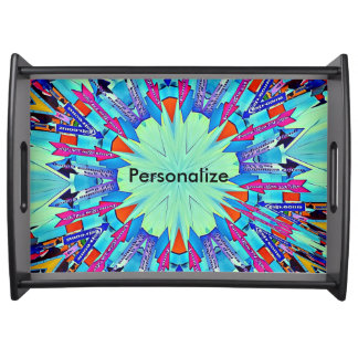 Funky Bright Arrows Point To Mandala Customizable Serving Tray