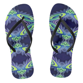Funky Bright Artistic Abstract Summertime Fashion Flip Flops