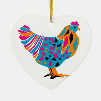 Funky Bright Chicken Ceramic Heart Decoration