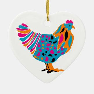 Funky Bright Chicken Ceramic Heart Decoration