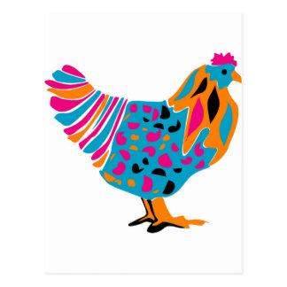 Funky Bright Chicken Postcard