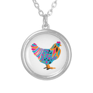 Funky Bright Chicken Silver Plated Necklace