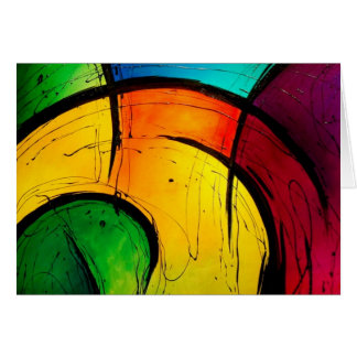 Funky Bright Colors Abstract Art Card