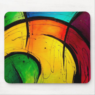 Funky Bright Colors Abstract Art Mouse Mat
