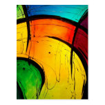 Funky Bright Colours Abstract Art Post Card