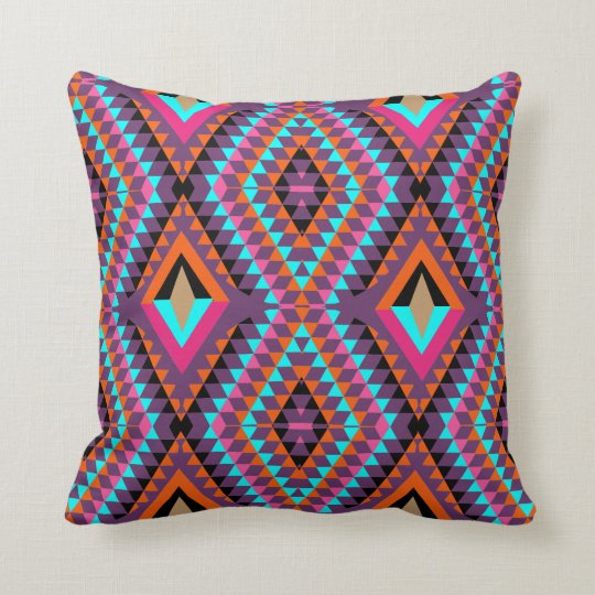 Funky Bright Fresh Colourful Geometric Fabric Throw Pillow