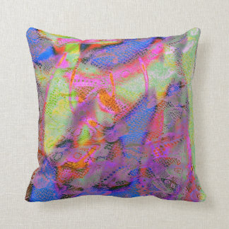 Funky Bright Lace Texture With Graffiti Rainbow Cushion