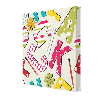 Funky Bright Letters with Patterns Stretched Canvas Prints