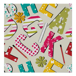 Funky Bright Letters with Patterns Print