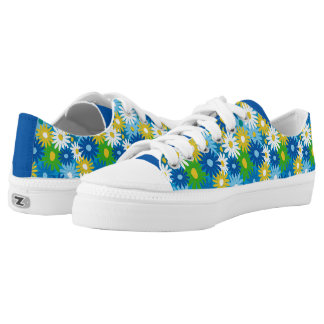 Funky bright spring daisies low tops
