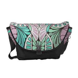 funky bright swirl art nouveau abstract design messenger bags