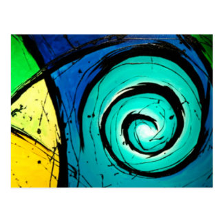 Funky Bright Swirls Abstract Art Painting Postcard