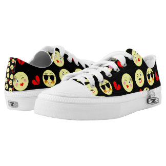 Funky Bright Trendy Emoticons Design Low Tops