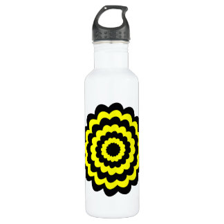Funky bright yellow and black flower. 710 ml water bottle