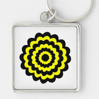 Funky bright yellow and black flower key chain