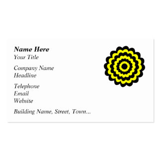 Funky bright yellow and black flower. pack of standard business cards