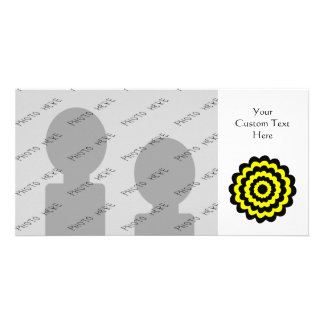 Funky bright yellow and black flower picture card