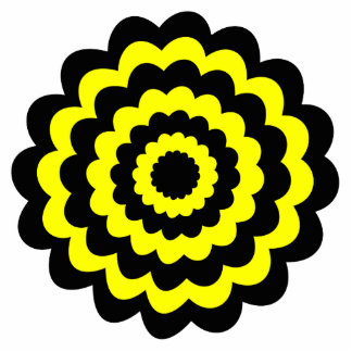 Funky bright yellow and black flower photo cutouts