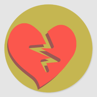 Funky Broken Heart Classic Round Sticker