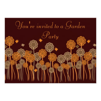 Funky Brown & Orange Retro Flowers Garden Party Custom Invitations
