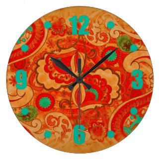 Funky Burnt Orange Red Teal Vintage Paisley Large Clock