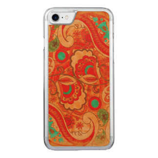 Funky Burnt Orange Red Turquoise Vintage Paisley Carved iPhone 8/7 Case