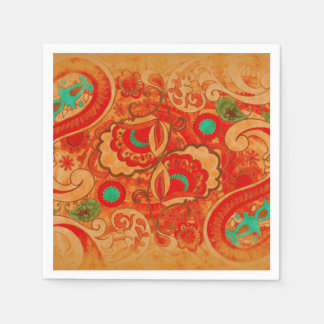 Funky Burnt Orange Red Turquoise Vintage Paisley Disposable Napkins